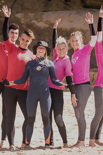 Group surf lessons at moana Surf school