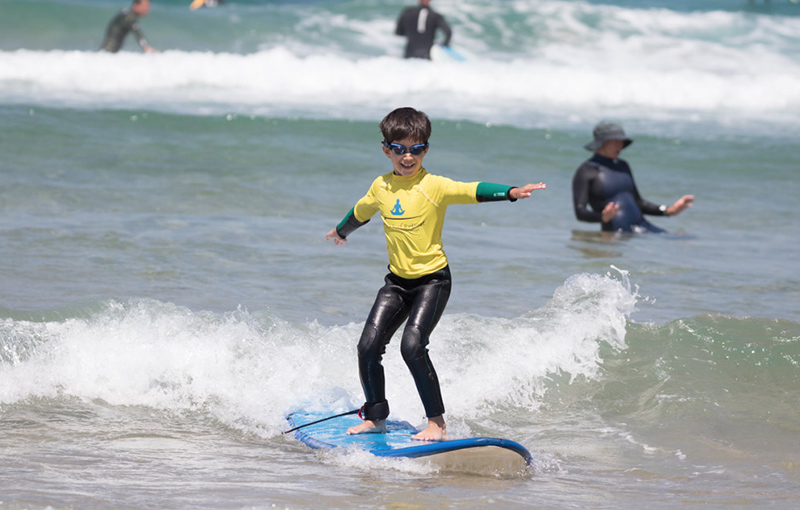 Kids surfing no water in the eyes